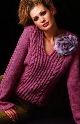 Связать пуловер женский